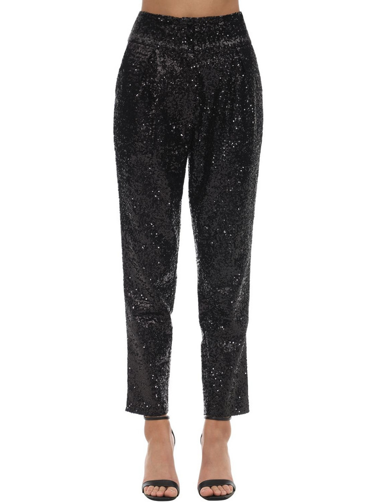 IN THE MOOD FOR LOVE High Waist Sequined Pants in black