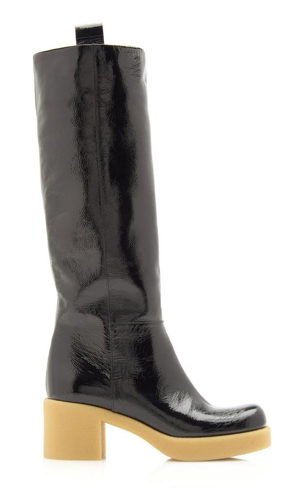 Miu Miu Patent Leather Knee Boots in black