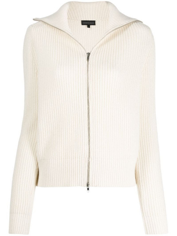 Cashmere In Love ribbed roll-neck Isla cardigan in white