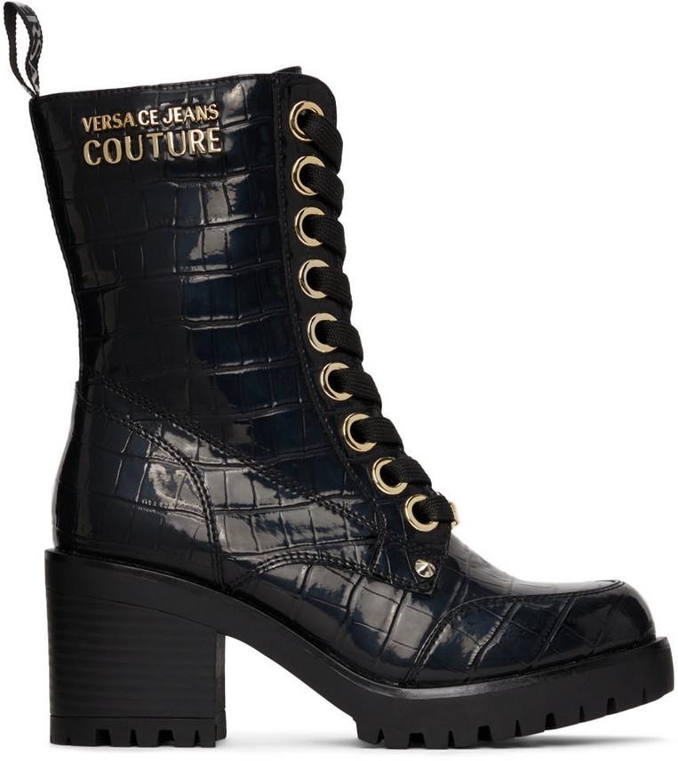 Versace Jeans Couture Black Croc Mia Boots in nero