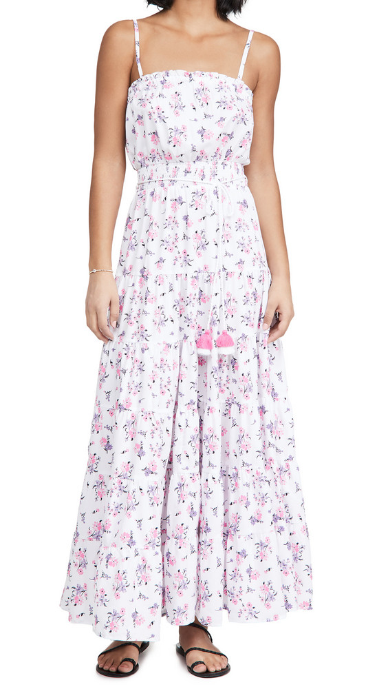 Playa Lucila Tiered Floral Maxi Dress in pink / purple