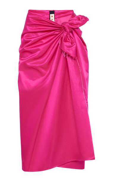 Marni Cotton-Blend Tie-Front Midi Skirt Size: 36 in pink