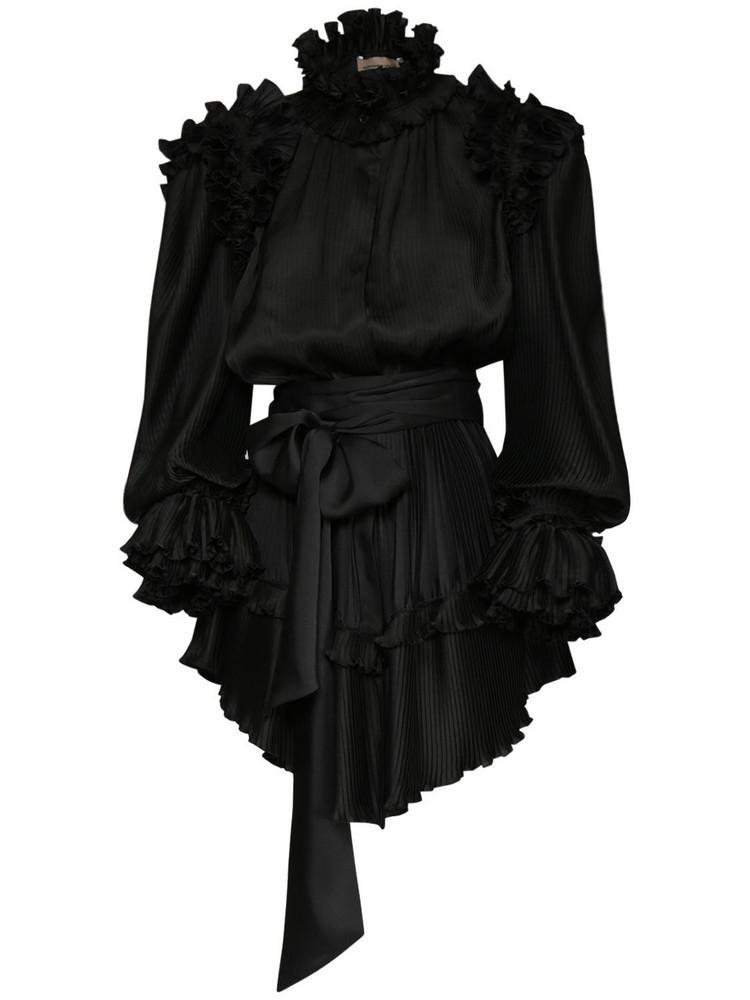 ALEXANDRE VAUTHIER Crepe Ruffled Mini Dress W/self-tie Belt in black