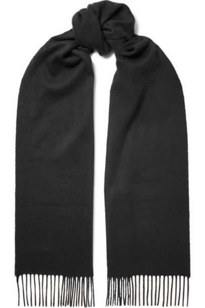 Johnstons of Elgin - Fringed Cashmere Scarf - Black