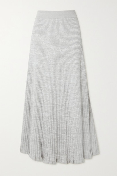 ANNA QUAN - Selma Ribbed Cotton Maxi Skirt - Gray