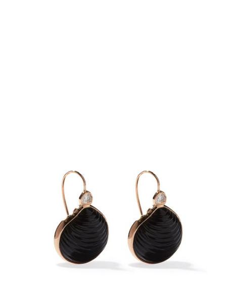 Dezso - Venus Diamond, 18kt Rose-gold & Onyx Earrings - Womens - Black Multi