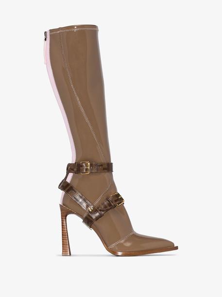Fendi Brown patent 105 logo strap knee-high boots