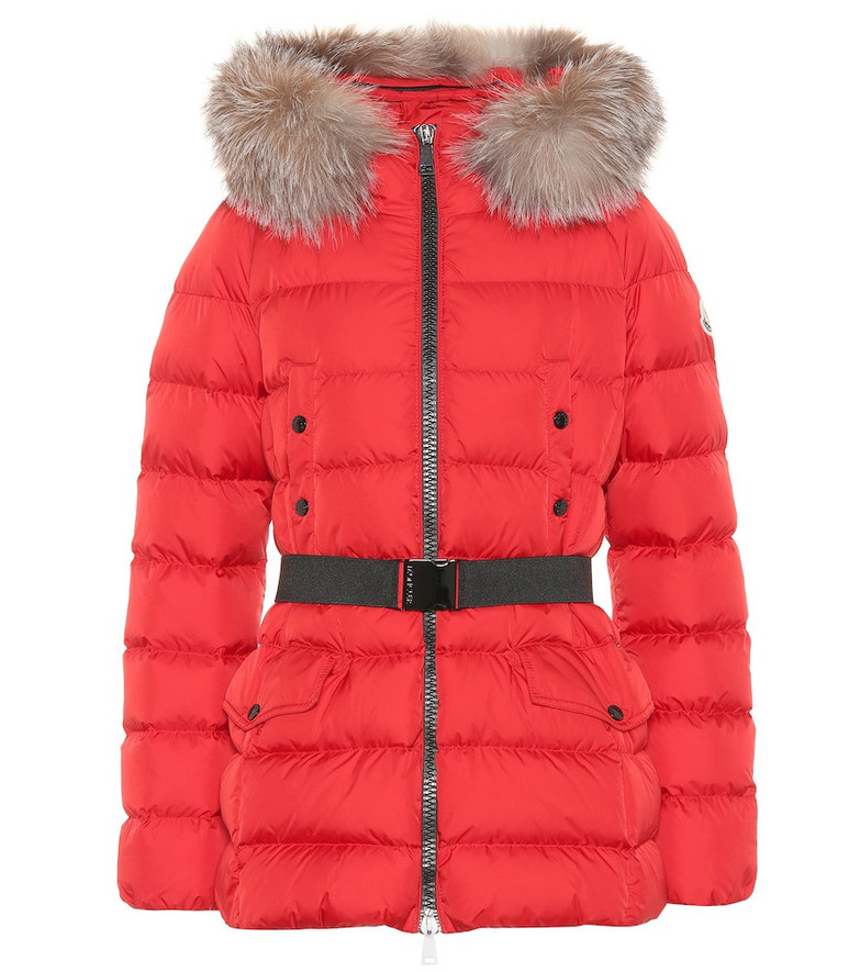 Moncler Clion quilted fur-trimmed down coat in red