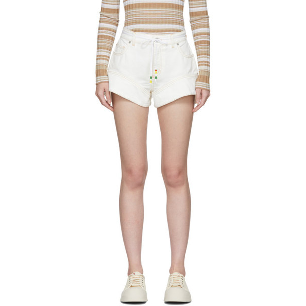 JW Anderson Off-White Denim Flared Cuff Shorts