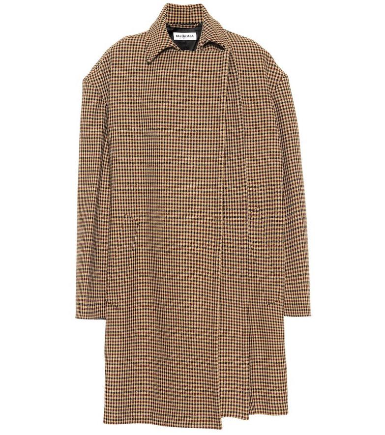 Balenciaga Houndstooth wool-blend coat in beige