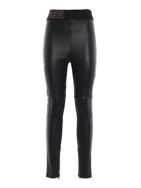 Fendi Skinny Fit Biker Leggings in black