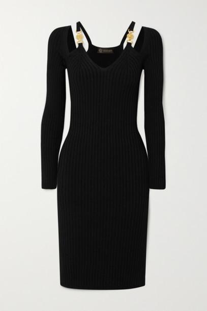 Versace - Cutout Embellished Ribbed-knit Dress - Black