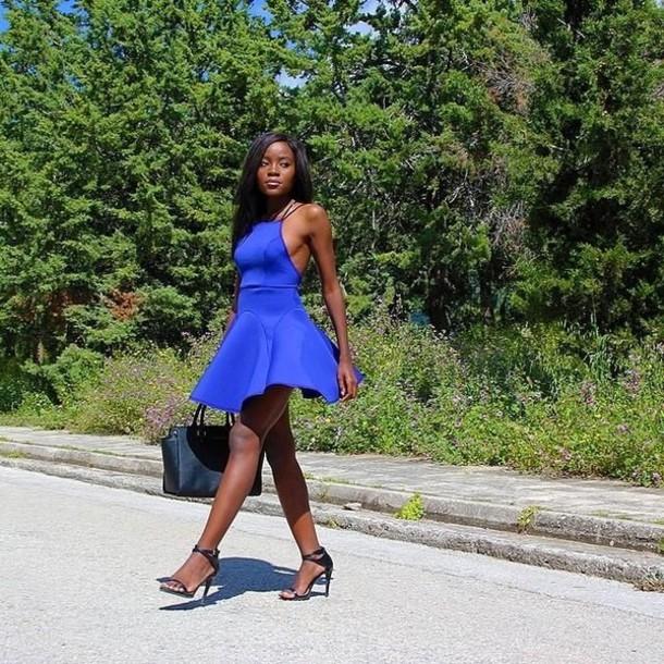 dress blue dress cobalt blue dress scuba dress