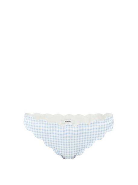Marysia - Antibes Scalloped Gingham Seersucker Bikini Briefs - Womens - Light Blue