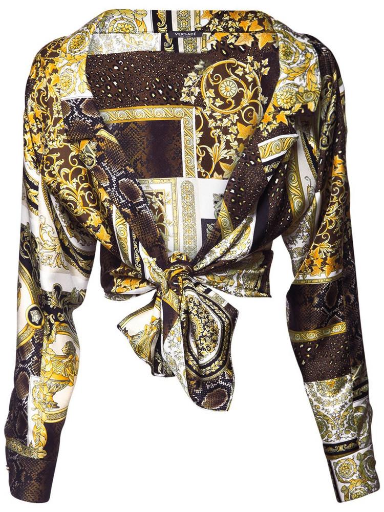 VERSACE Cropped Patchwork Print Silk Twill Shirt