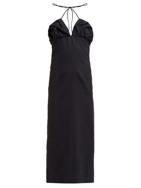 Jacquemus - Bambino Halterneck Linen Midi Dress - Womens - Navy