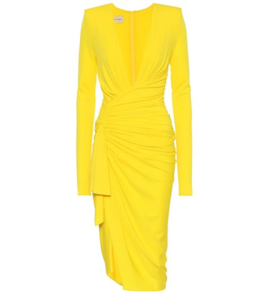 Alexandre Vauthier Long-sleeved stretch crêpe dress in yellow