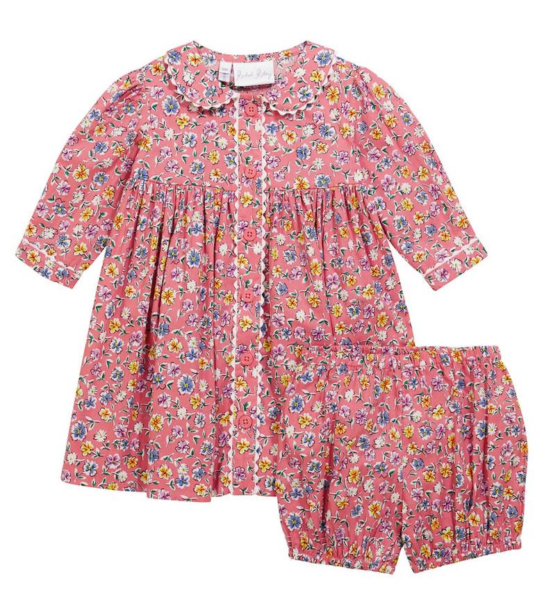 Rachel Riley Baby Flower Garden dress and bloomers in pink