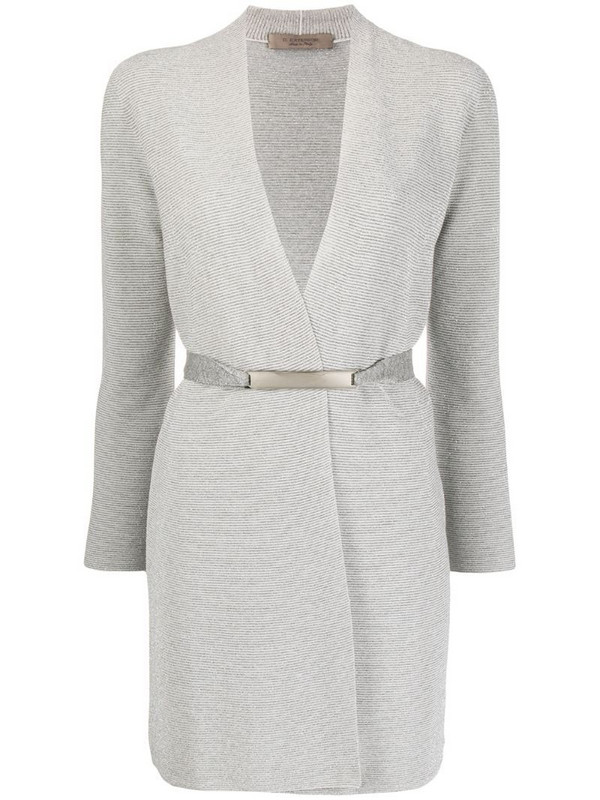 D.Exterior belted wrap cardigan in silver