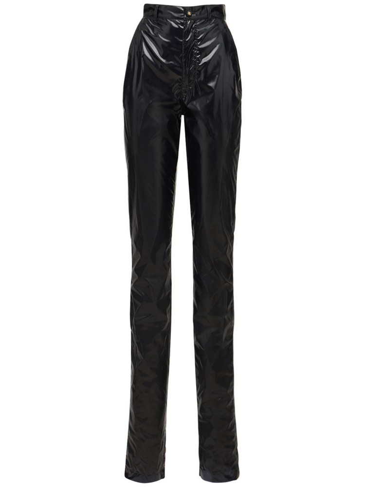 DOLCE & GABBANA Laminated Vynil Effect Straight Pants in black