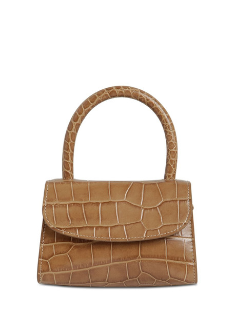 BY FAR Mini Croc Embossed Leather Bag in taupe