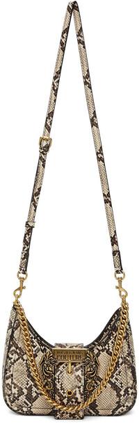 Versace Jeans Couture Beige Snake Buckle Shoulder Bag