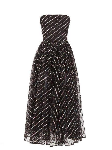 Rasario - Strapless Sequinned Tulle Midi Dress - Womens - Black