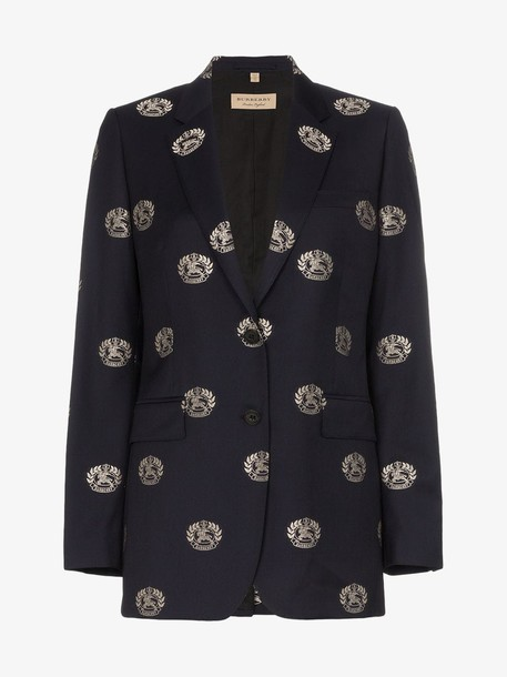 Burberry Fil Coupé Crest Wool Tailored Jacket in blue