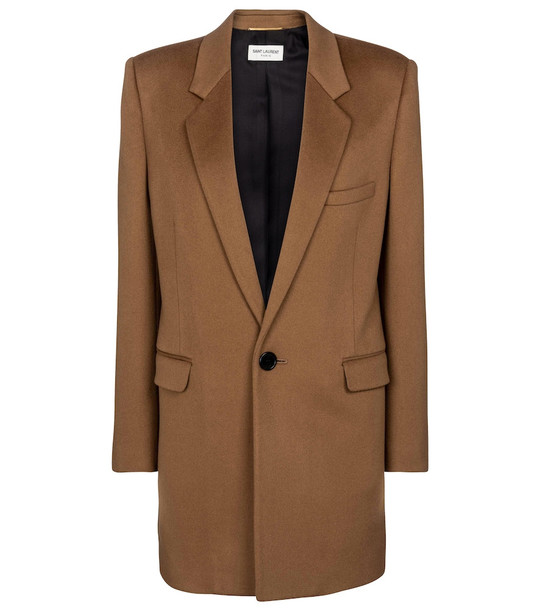 Saint Laurent Wool and cashmere coat in brown