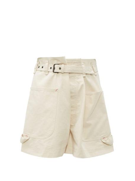 Isabel Marant - Ike Paperbag Waist Cotton Shorts - Womens - Ivory