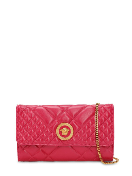 VERSACE Icon Quilted Patent Leather Shoulder Bag in fuchsia