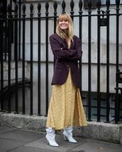 shoes,white boots,heel boots,knee high boots,maxi dress,yellow dress,shirt dress,black blazer,oversized,givenchy