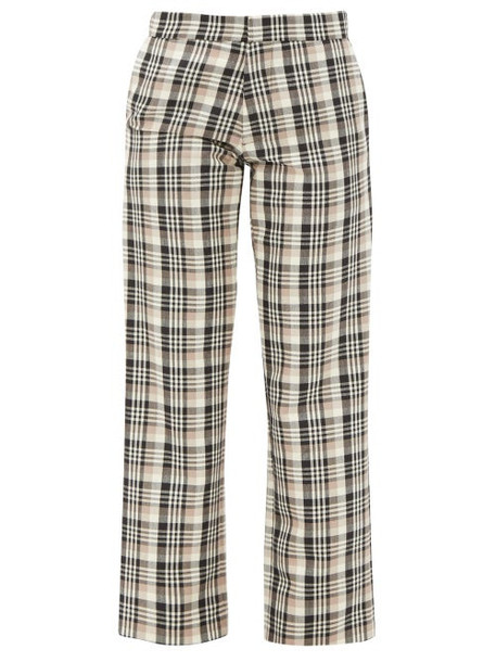 Edward Crutchley - Checked Wool Tailored Trousers - Womens - Brown Multi