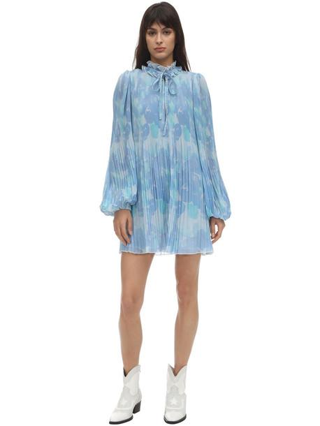 GANNI Pleated Georgette Mini Dress in blue