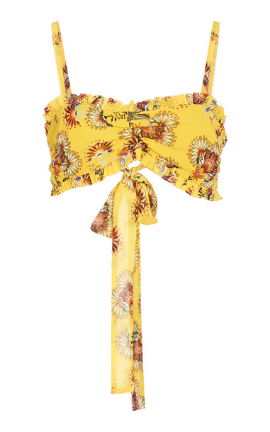 Alexis Alma Floral-Print Crepe Cropped Top in yellow