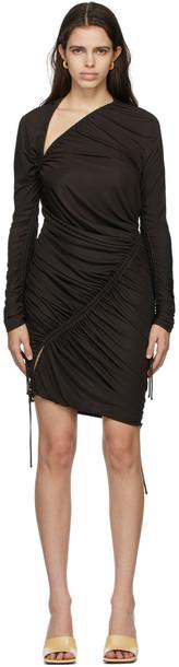 Bottega Veneta Brown Satin Jersey Drawstring Dress