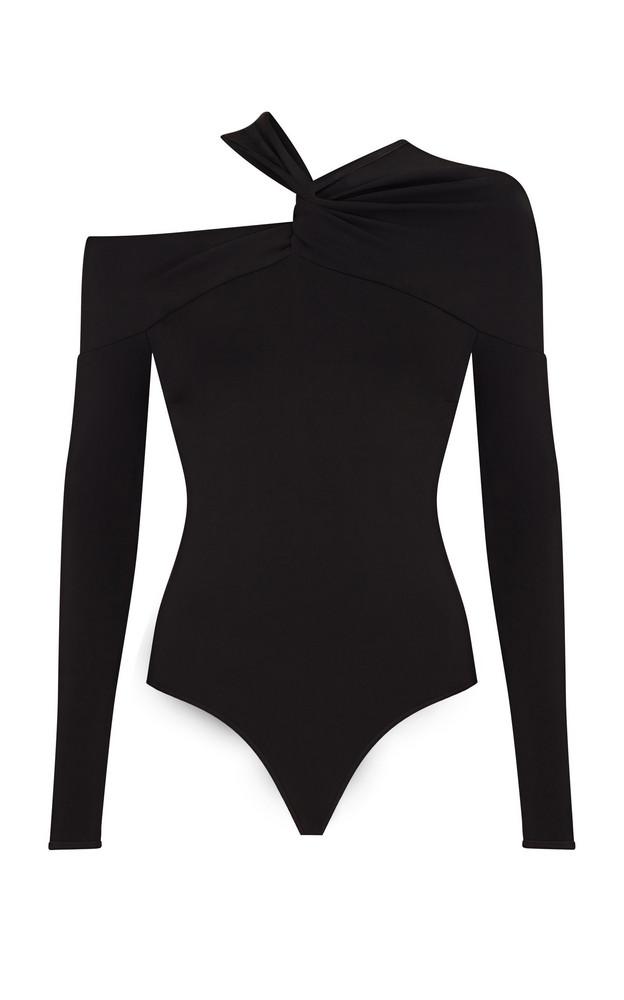 Safiyaa Baylee Asymmetric Twisted Jersey Bodysuit in black