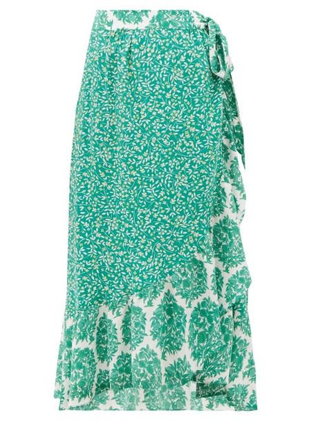 Beulah - Elena Tree Of Life Print Silk Midi Wrap Skirt - Womens - Green White