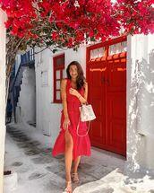 dress,red dress,midi dress,sleeveless dress,short sleeve dress,white sandals,white bag