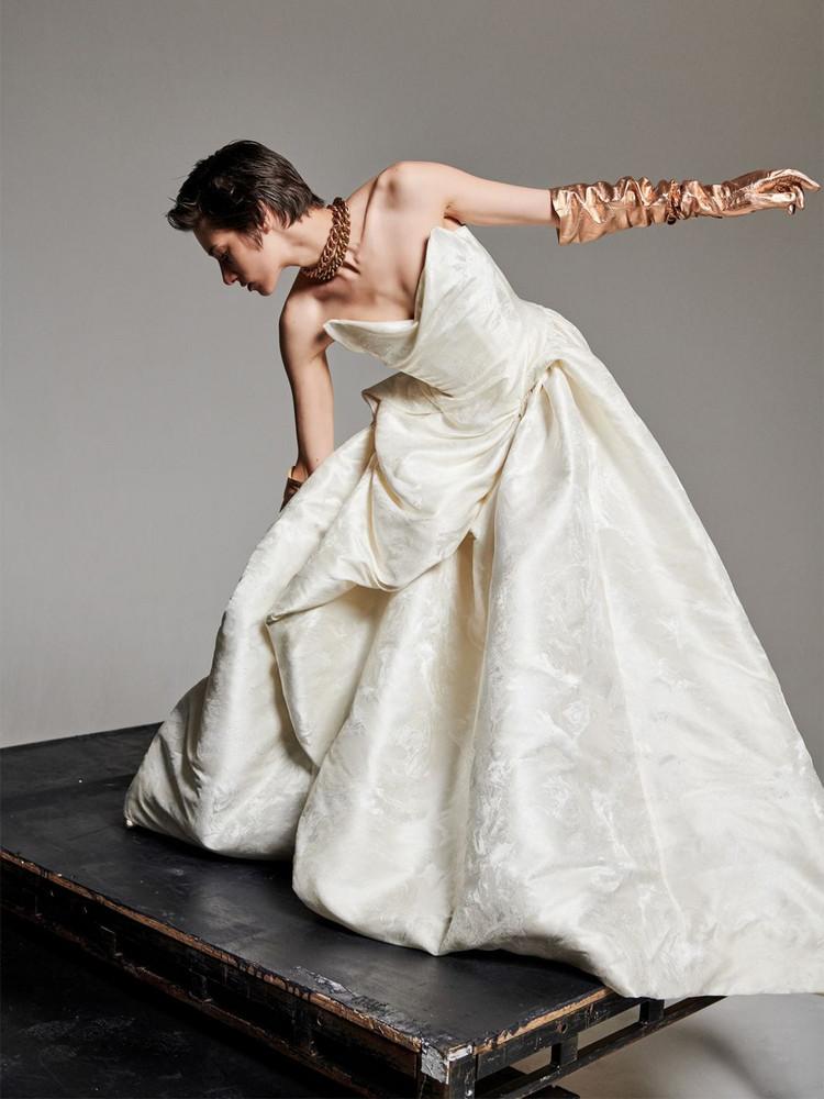 VIVIENNE WESTWOOD Rose & Bird Silk Blend Jacquard Dress in ivory