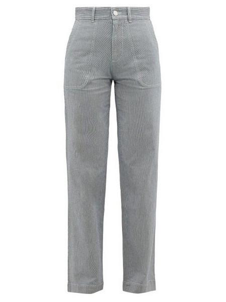 A.P.C. A.p.c. - High Rise Striped Cotton Blend Trousers - Womens - Blue Stripe