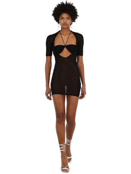 JACQUEMUS La Robe Piana Viscose Knit Mini Dress in black