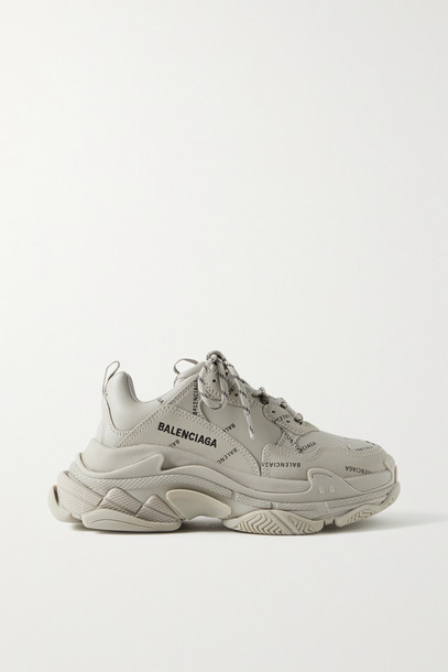 BALENCIAGA - Triple S Printed Leather And Mesh Sneakers - Neutrals