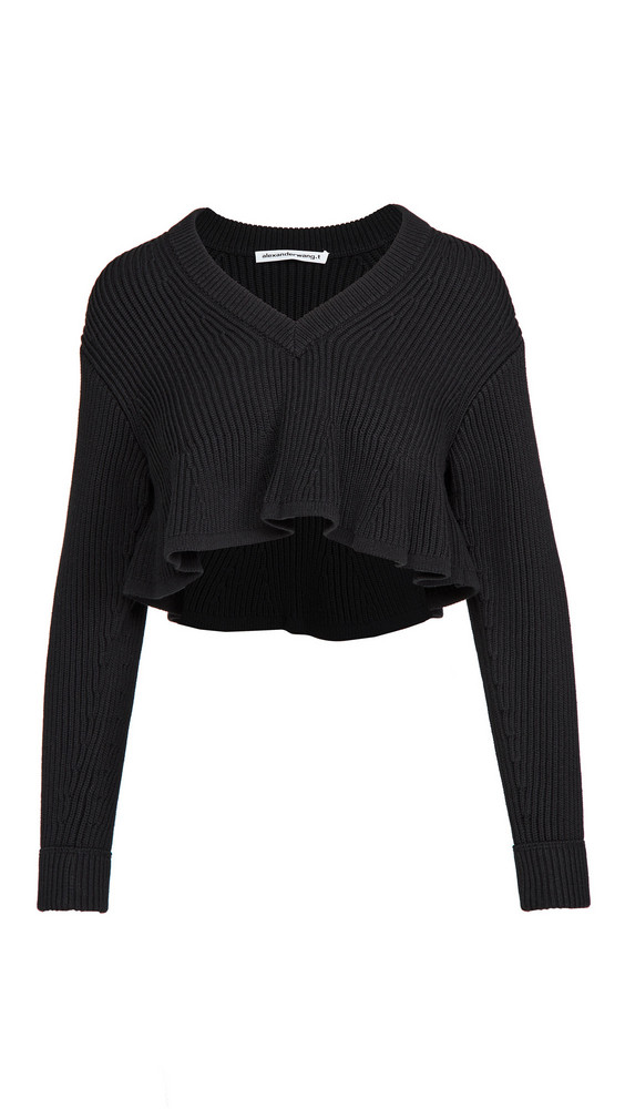 alexanderwang.t Cropped V Neck Pullover in black