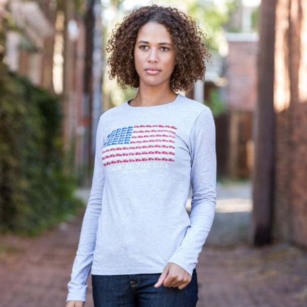 New Balance 3194 Women's 990 Flag Graphic Tee - Athletic Grey (WET3194AG)