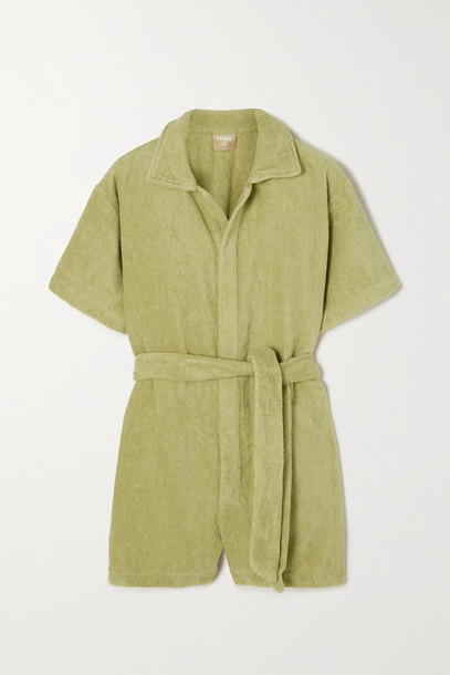 TERRY - Belted Cotton-terry Jumpsuit - Green
