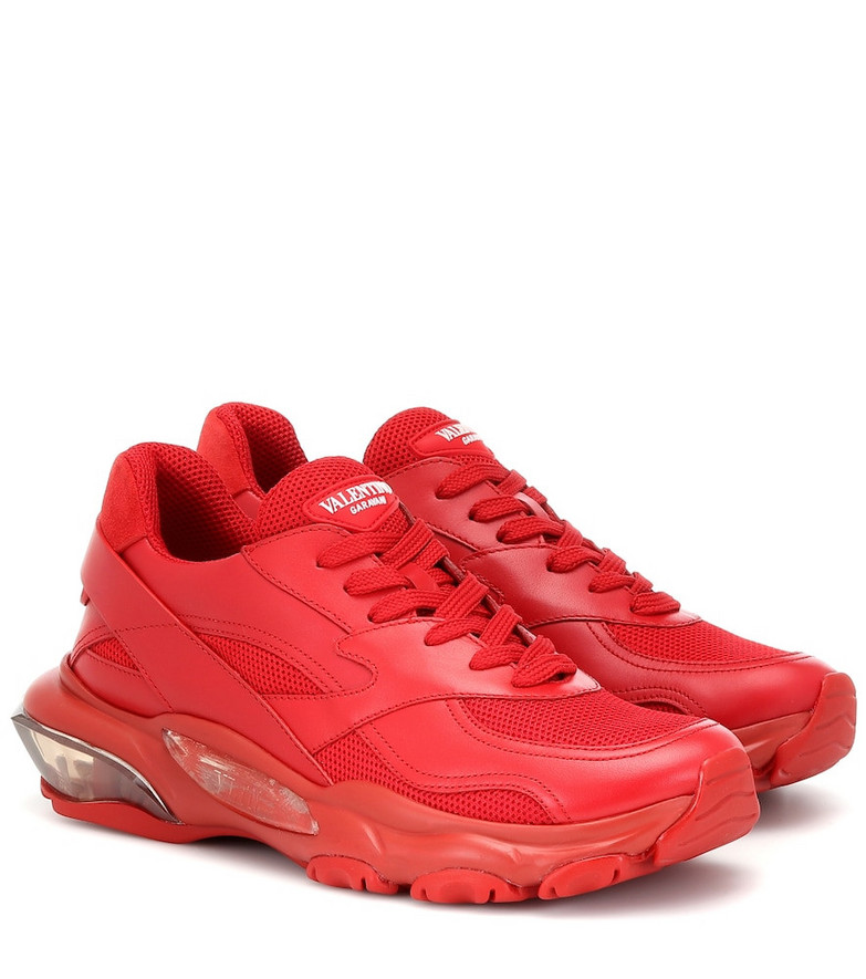 Valentino Garavani Bounce leather sneakers in red