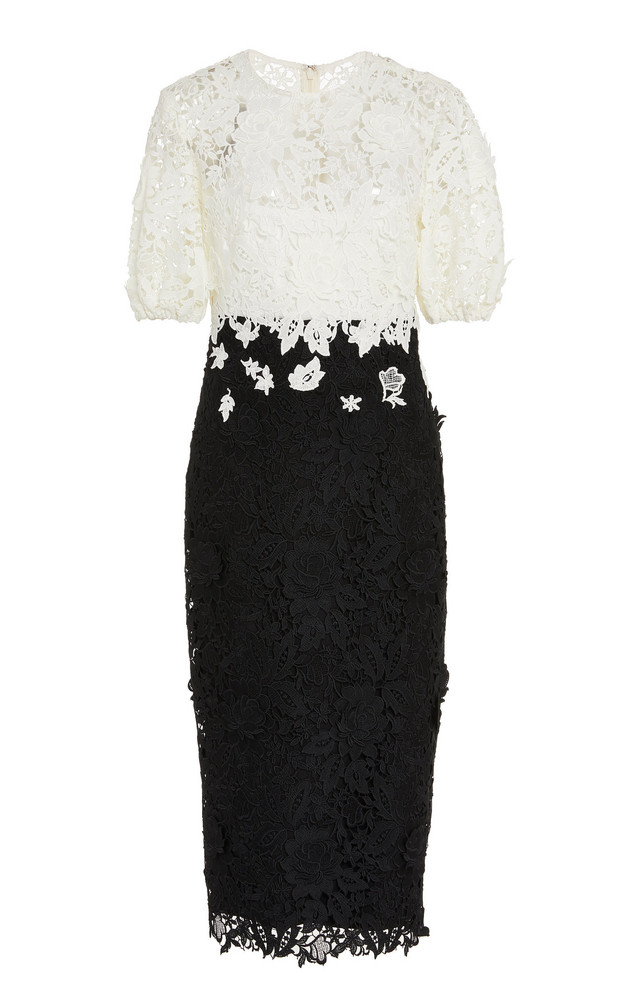 Lela Rose Two-Tone Guipure Lace Dress Size: 0 in black