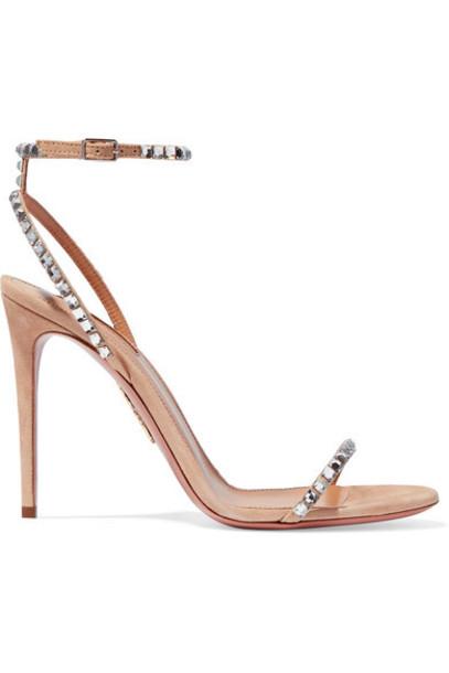 Aquazzura - Very Vera 105 Crystal-embellished Suede Sandals in sand