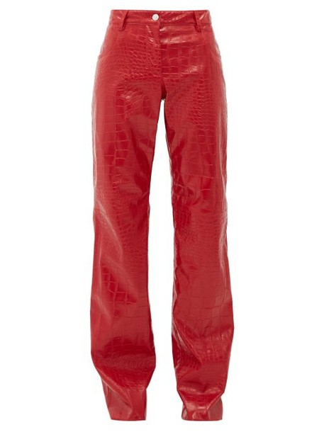 Msgm - Crocodile Effect Faux Leather Trousers - Womens - Red